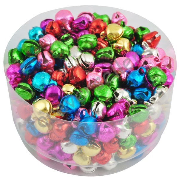 6MM 100 pcs/lot Loose Beads Small Jingle Bells Christmas Decoration Gift Free Shipping Colorful/Mix Color ly