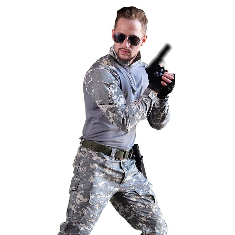 سوات موحدة ملابس رسمية التكتيكية العسكرية الجندي القتالية زي مموه العسكرية النشطة CS الملابس قميص + السراويل التكتيكية-في مجموعات للرجال من ملابس الرجال على  مجموعة 1