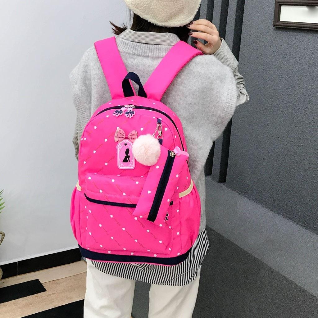 Women Bow Canvas Three-piece School Bag 46