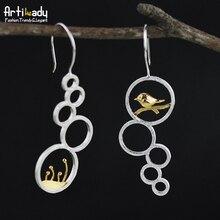 Artilady 925 plata de ley pendientes de gota de moda hierba pájaro diseño 925 pendientes de plata para las mujeres del partido de la joyería