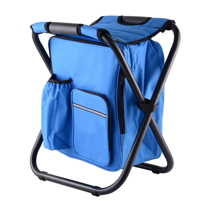 Outdoor Portable Multifunctional Foldable Cooler Bag Chair Backpack Fishing Stool Chair Outdoors Practical Tools