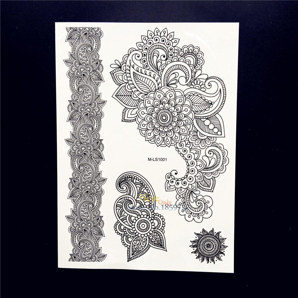 25 estilos caliente negro Henna tatuaje temporal falso mandala ...