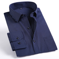 Quality Striped High Full Sleeve Shirts Men Casual Dress Shirt Business Formal Autumn Shirt Plus Size