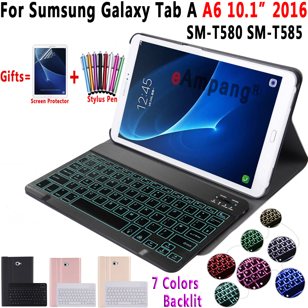 Case For Samsung Galaxy Tab A A6 10.1 2016 Keyboard Case T580 T585 SM-T580 SM-T585 Cover 7Color Backlit Bluetooth Keyboard Funda