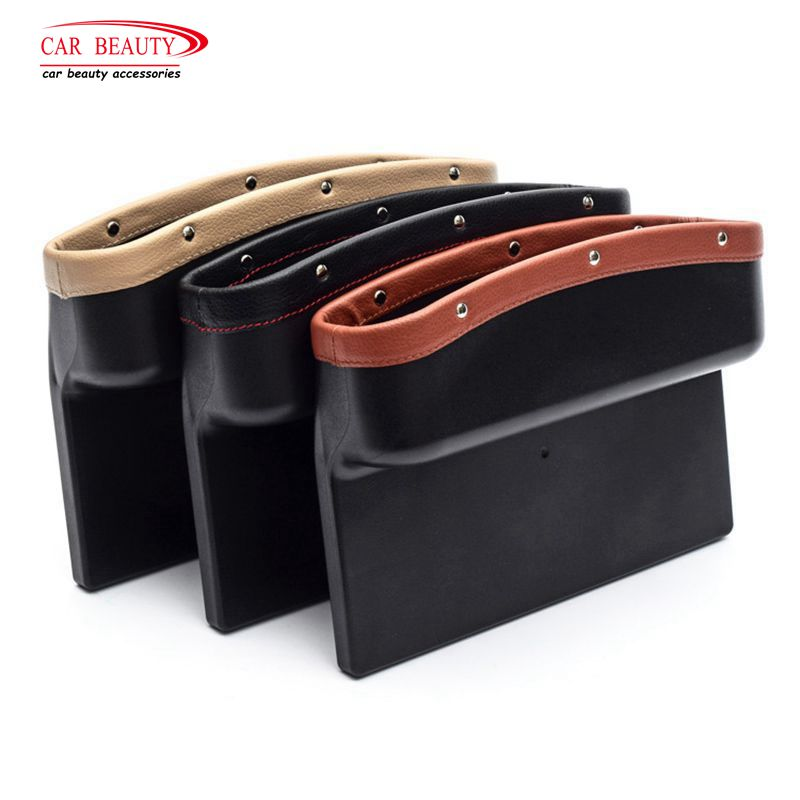 PU Leather Car Seat Crevice Storage Box Organizer Gap Leak Proof Console Side Filler Catch Caddy For Wallet