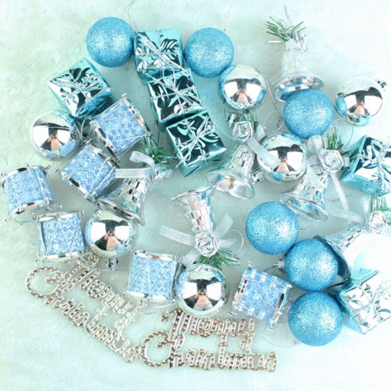 32pcs christmas tree decorations Gongs and drums christmas ball Lake Blue decorations for home Bells natal navidad 2017 kerst Щипцы