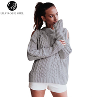 Lily Rosie Girl Sexy Cold Shoulder Women Grey Sweaters Autumn Winter Pullover Knitted Hollow Out Casual