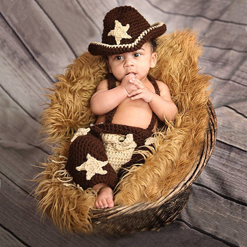 Newborn Baby Photography Props Knitted Baby Clothes Photography Cowboy Baby Hat+Pants+Suspenders Set Baby Photo Prop Accessories
