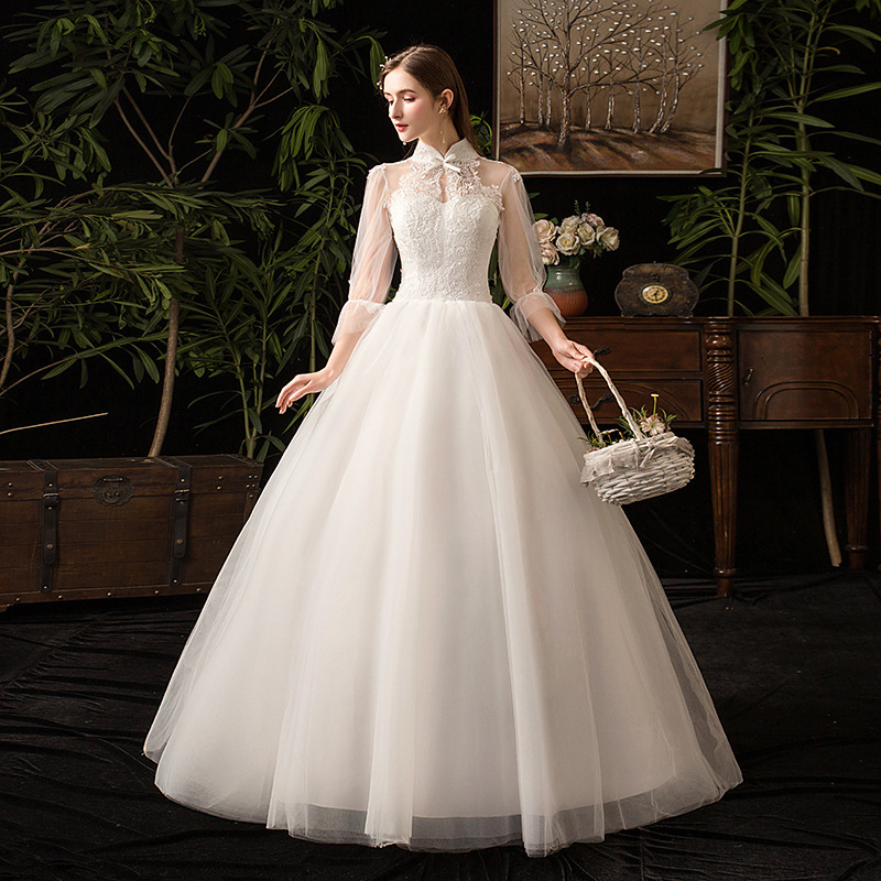 White High Neckline Wedding Dresses Full Sleeve Lace Up Appliques Ball Gown Pearls Formal Bride Wedding Gowns Robe De Mariee