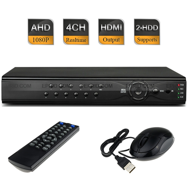 CCTV Security H.264 4CH AHD-H Full HD 1080P Realtime Recorder Hybrid DVR NVR HDMI