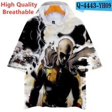 Anime Costumes One Punch Man Printed Short Sleeve Hooded T Shirt Saitama Tees Comfortable Anime Clothes Kids Cartoon Japanese