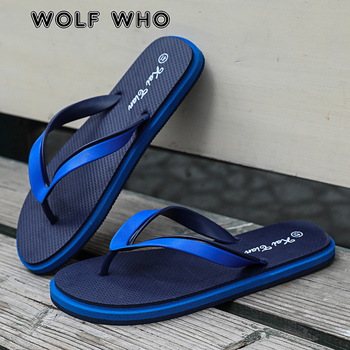 WOLF WHO Summer Men Flip Flops High Quality Comfortable Beach Sandals Shoes Man Male Slippers Casual Shoes Free shipping A-018 2020 summer cool rhinestones slippers for male gold black loafers half slippers anti slip men casual shoes flats slippers wolf