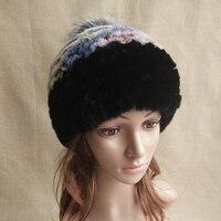 Women Genuine Knitted Rex Rabbit Fur Hats Russian Hat ushanka Natural Stripe Rex Rabbit Fur Caps