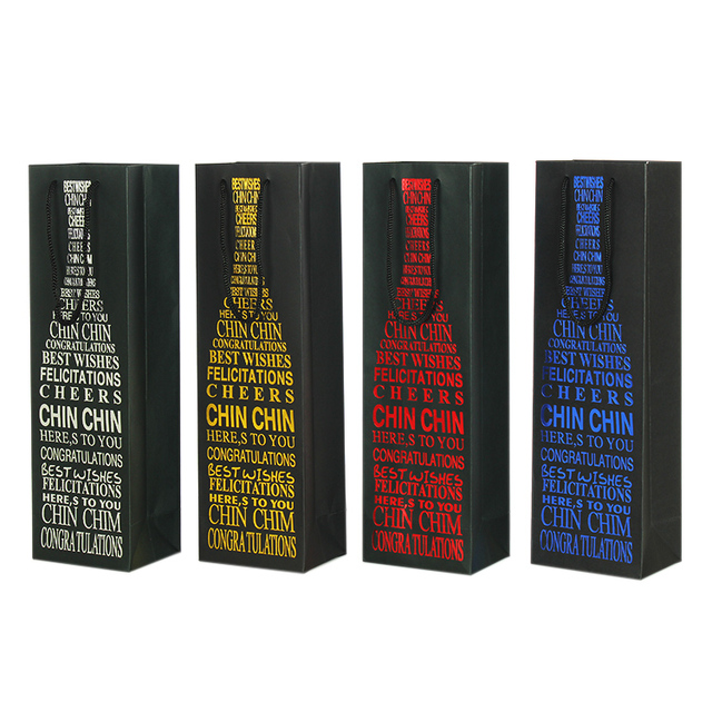 35x8x8cm Black Paper Wine Bottle Bags Blue Silver Hot Stamping Champagne Gift Xmas