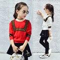 Meninas Camisola Casaco Outerwear Crianças Algodão Crianças Queda Roupas de Malhas Infantil Roupas De Malha Estilo Preppy Camisola Roupa 2-12
