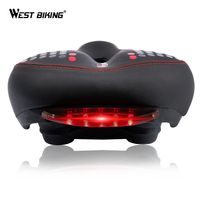 WEST BIKING Bicycle Saddle With Tail Light Thicken Widen MTB Bike Saddles Soft Comfortable Bike Hollow