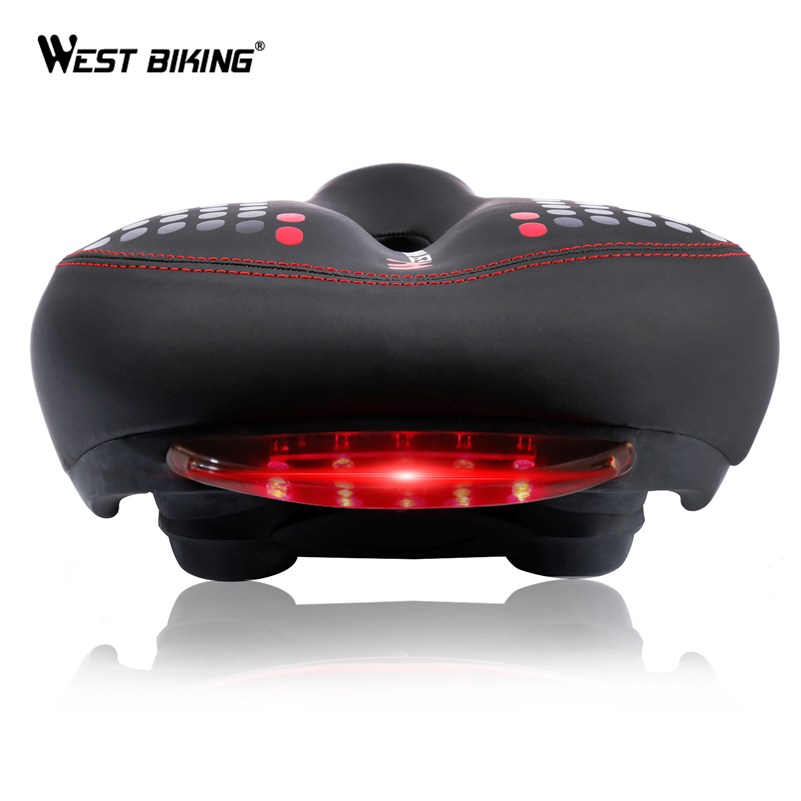 WEST BIKING Sykkel Saddle With Tail Light Thicken Wide MTB Bike Saddles Myk Komfortabel Sykkel Hollow Sykkel Sykkel Sadel