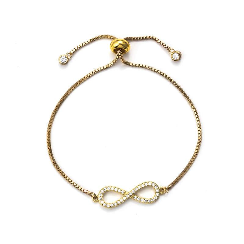 Lucky Eye Charms Bracelets Figure 8 Copper Geometric Micro Zircon Chain Bracelets For Women Girl Jewelry Adjustable EY5491