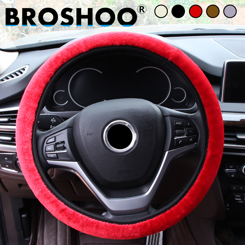 BROSHOO Car Styling Soft Warm Elastic Universal Plush Winter Car Steering Wheel Cover Fo ...