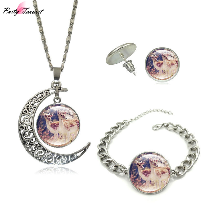 Partyfareast New Elk Time Gem Glass Jewelry Sets Necklace Earrings Bracelet For Women Jewellery Alloy Necklace Set Stud Earrings