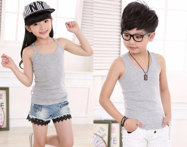 2020 children's clothes boys vests solid cotton thin baby girl boy word of tanks for girls boys big kids camisole underwears top