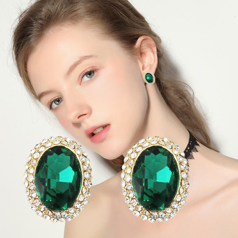 Classic Round Crystal Stud Earrings For Women Fashion Brand Rhinestone Geometric Earring Vintage New Jewelry For Gifts