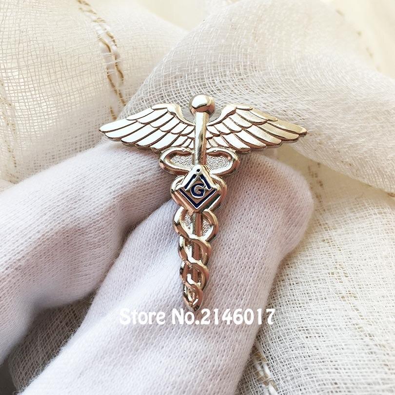 Серебряный цвет 30 мм масонский нагрудный штифт Freemason Лодж медицинский доктор значки и броши каменная кладка крылья змея символ Бесплатные м...