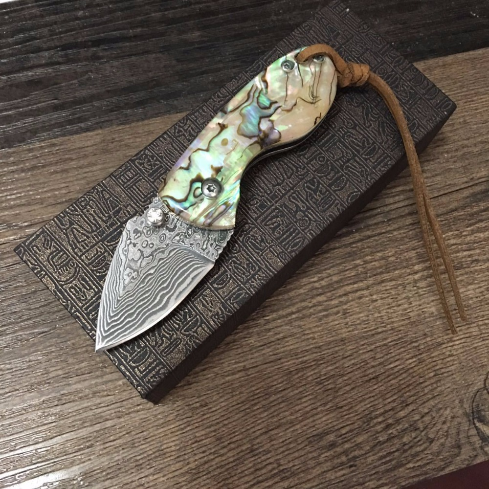 58HRC Handmade Damascus steel blade Pocket Folding Knife with shell Handle utility knife gift knife Outdoor survival knife quality luxury fixed blade damascus knife 58hrc antlers handle for collection gift outdoor survival