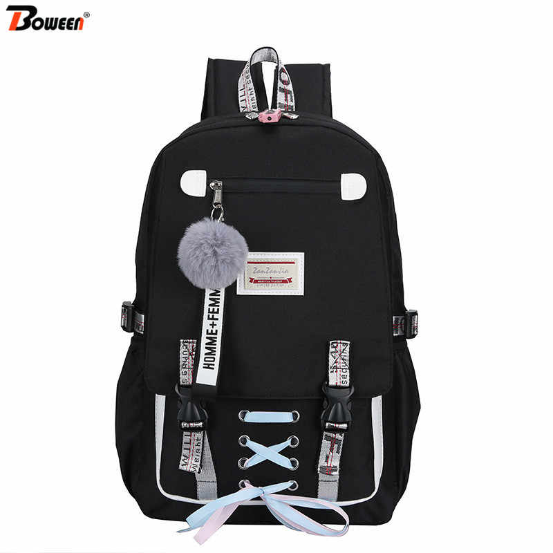 USB Anti Theft Backpack for Girls Teenage Nylon School Bags Women Bagpack Large Capacity Black Back Pack Student Backbag 2019