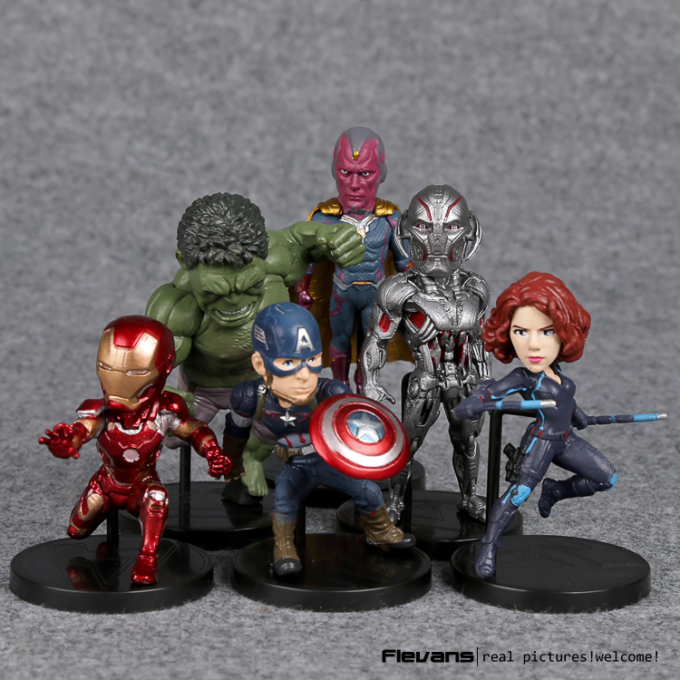 Marvel Avengers 2 Age of Ultron Hulk Black Widow Vision Ultron Iron Man Captain America Action Figures Model Toys 6pieces/set captain american 2 winter soldier minifigures marvel thor black widow brick action hawkeye iron man minifigures