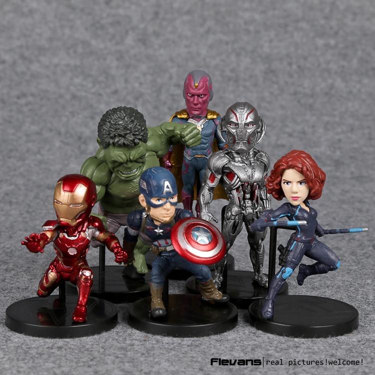 Marvel <font><b>Avengers</b></font> 2 Age of Ultron Hulk Black Widow Vision Ultron <font><b>Iron</b></font> <font><b>Man</b></font> Captain America <font><b>Action</b></font> <font><b>Figures</b></font> Model <font><b>Toys</b></font> 6pieces/set