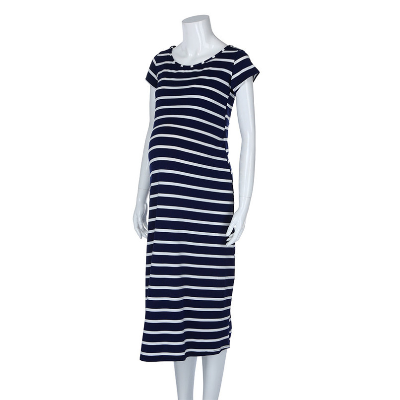 dedad4de9243 ... Summer Maternity Clothes Fashion Women Pregnants Maternity Striped  Short Sleeve Ankle-Length Dress Casual Pregnancy ...