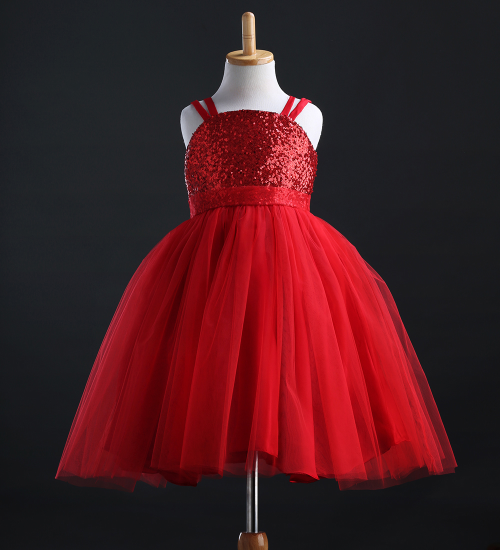 Hot Fancy Princess Baby Girls Shoulder-straps Sequins Party Dress Birthday Bridesmaid Gown Formal Dresses longoni fancy hot lips 4