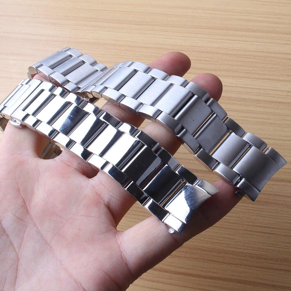 Bracelets de montre en acier inoxydable poli mat 22mm Bracelet liens solides pour montres Gear S3 extrémité incurvée bracelets de montre en métal argenté chaud