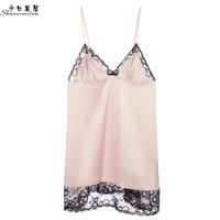 shaonvmeiwu Women's sexy suspenders bed skirt thin pajamas living clothes lace satin fashion home wear