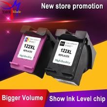 2pk para hp 122 cartucho de tinta remanufacturados para hp deskjet 2000 2050 2050 s 3050a 3052a impresora 3054