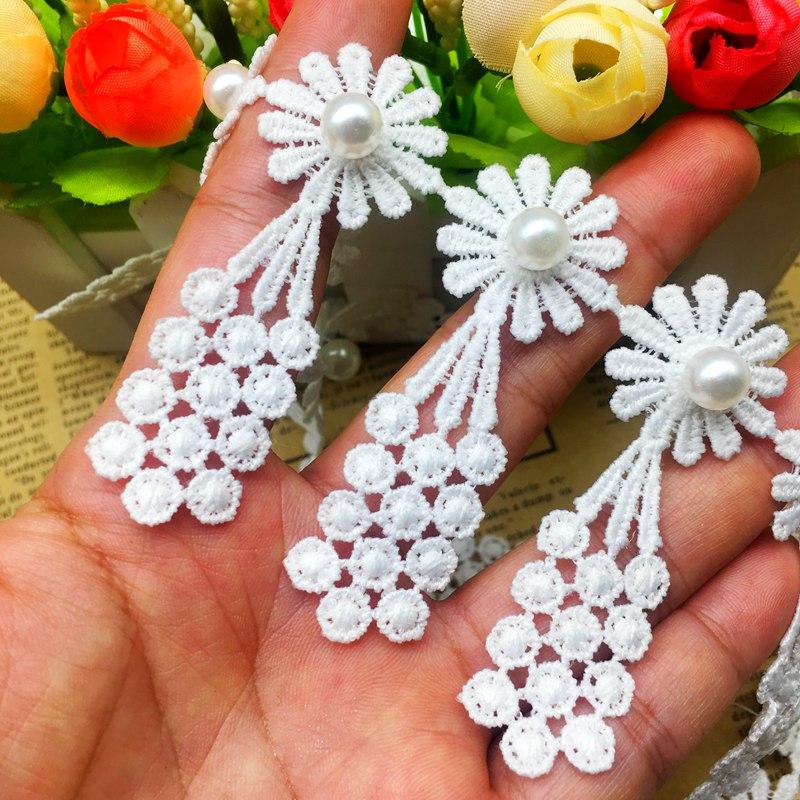 1yd 3D Diamond Flower Grape Tassel Lace Trim Ribbon Fabric Applique Sewing Craft