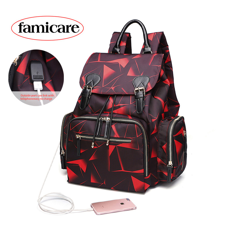 2019 Diaper Bag Mummy Backpack Baby Stroller Bag Waterproof Oxford Handbag Nursing Nappy Bag Maternity Travel Bag Floral Print
