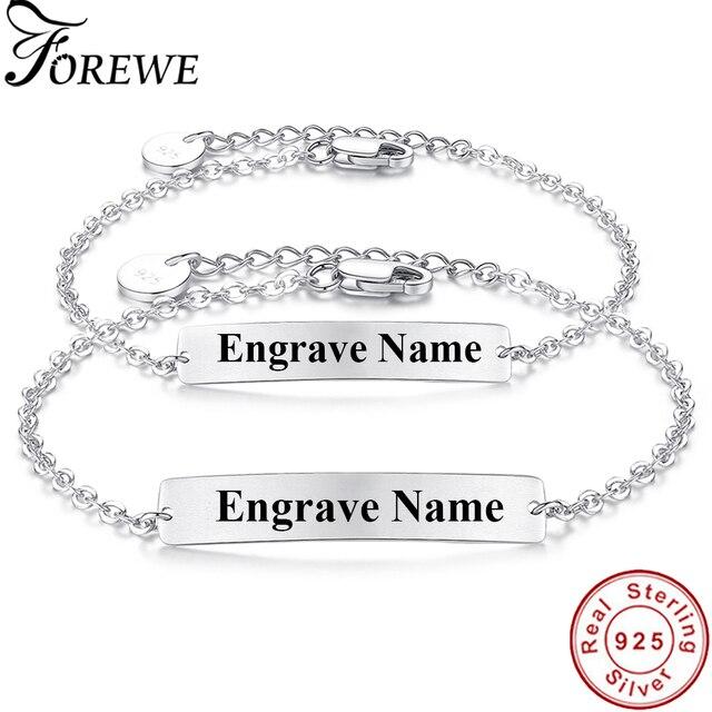 d95ccd878 Luxury 100% 925 Sterling Silver Bar Bracelet Custom Engraved Name Couple  Bracelet Personalized Initial Bracelet For Women Men