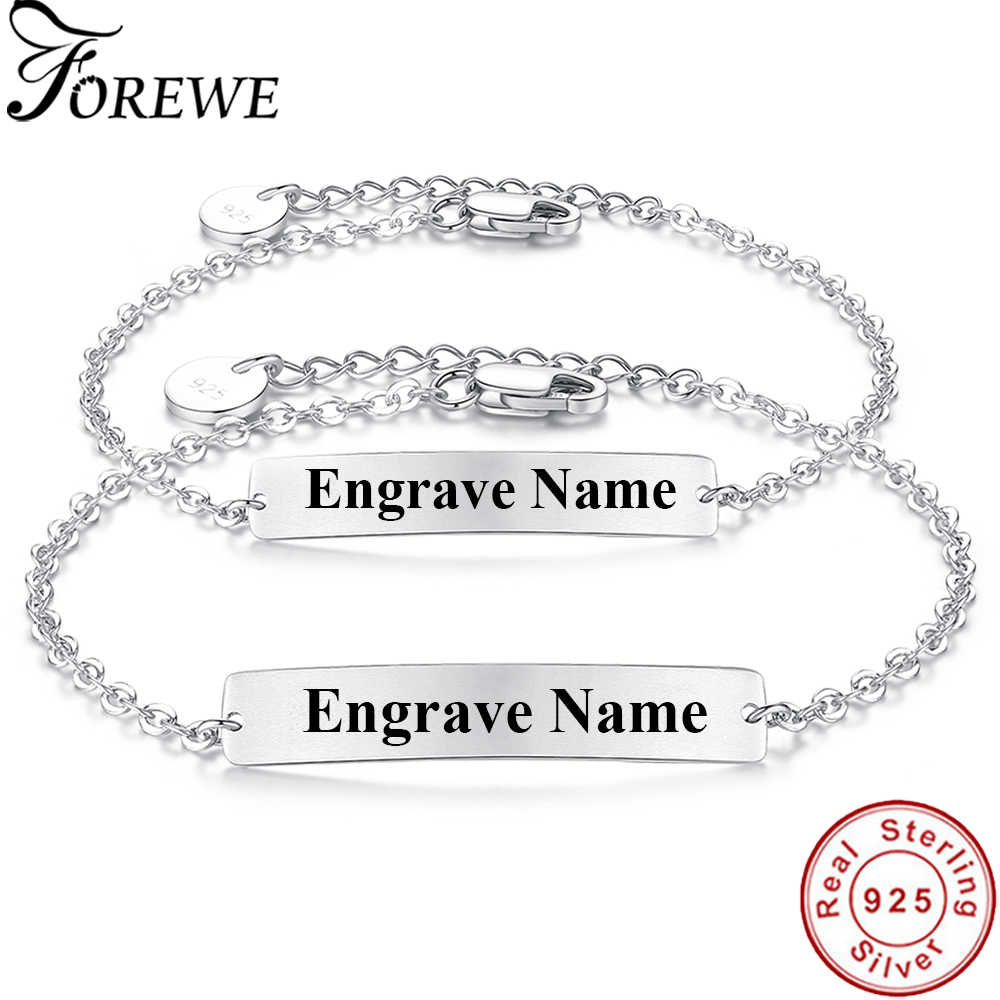 Luxury 100 925 Sterling Silver Bar Bracelet Custom Engraved Name Personalized Initial For Women Men