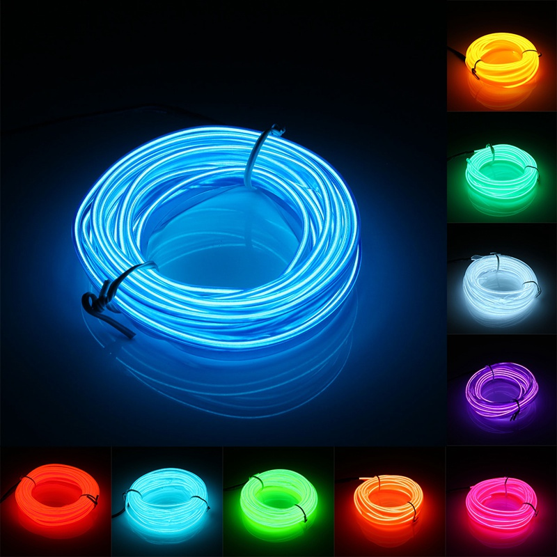 3 Meters 2.3mm LED Flexible EL Wire Neon Lights Glow Light Strip Party Festival Chrismas Home House Decoration Strip String Lamp