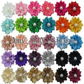 Free Shipping 150pcs/lot DIY Flowers WITHOUT CLIPS Satin Ribbon Flowers Sew Multilayers Pearl Flowers For Baby Girls Hair