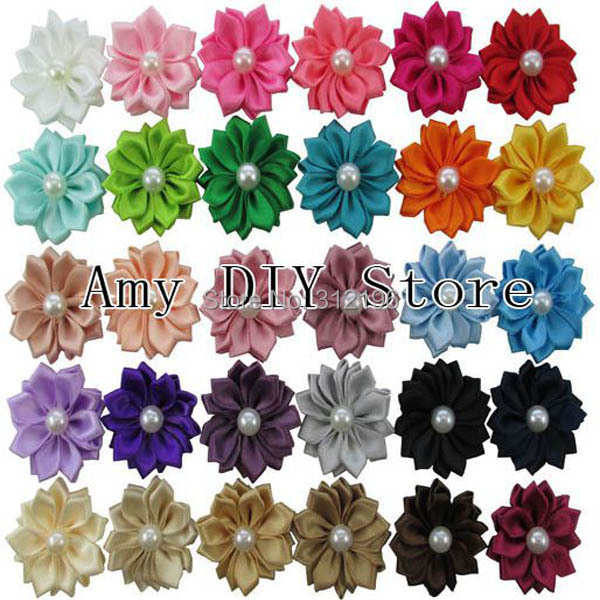 MyAmy 150pcs/lot DIY Flowers WITHOUT CLIPS Satin Ribbon Flowers Sew Multilayers Pearl Flowers For Girls Hair Free Shipping