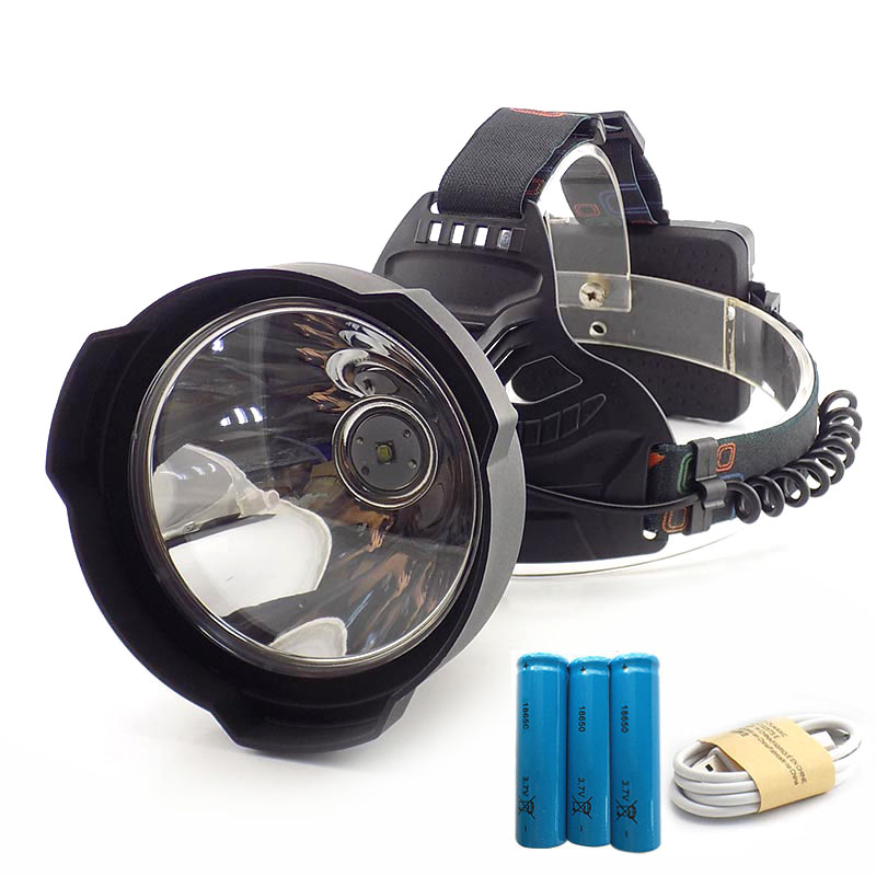 2019 New Big Size USB T6 Led Headlamp Flashlight Super Bright Night Light Frontal Head Lamp Torch Headlight 3x18650 Battery