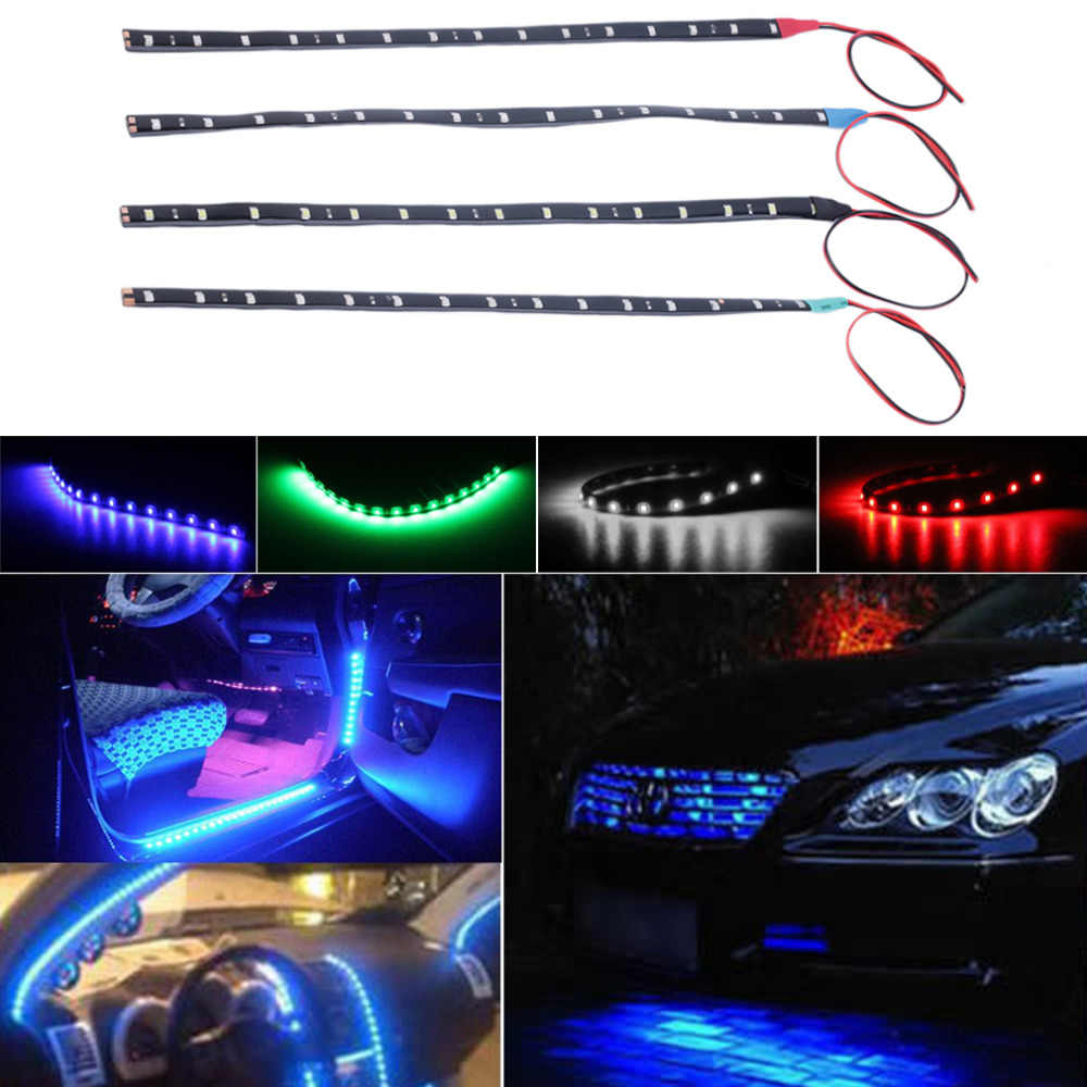 للماء 15 LED 30 سنتيمتر سيارة التصميم سوبر الأبيض الأزرق الأحمر مرنة سيارة ضوء النهار تشغيل أضواء DRL لينة شرائط انخفاض الشحن