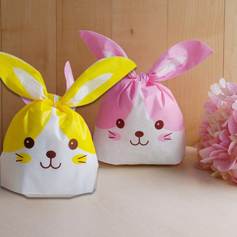 Yellow Amp Pink Rabbit Ear Cookie Bags Plastic Candy Biscuit