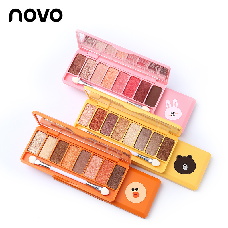 NOVO New 8 Color Silky Slide Eyeshadow Palette Wet & Dry Powder Eyeshadow With Brush Makeup Shimmer Matte Nude Smooth Eye Shadow eye shadow