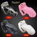 Mais recente Projeto chastity dispositivo Gaiola Pequena A 100% Biosourced resina Bondage Gaiola Caralho Com 4 Anéis de Pênis Brinquedos Sensuais Para homem