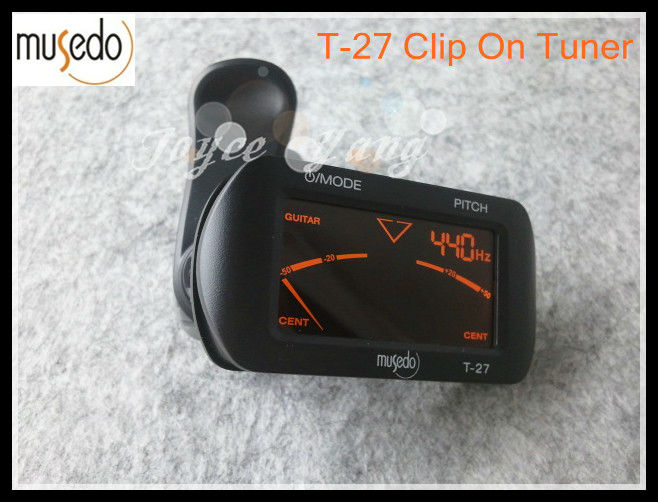 Musedo T-27 LCD Clip-On Digital Guitar Tuner For Guitar/Bass/Violin/Ukulele Tuners Free Shipping 1 3 lcd clip on tuner for guitar bass violin black 1 x cr2032