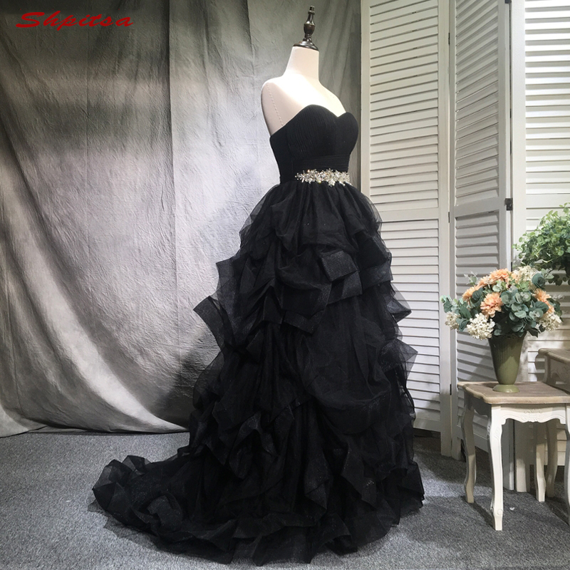Black Mother Of The Bride Dresses For Weddings Ruffle Ball Gown Evening Groom Godmother Dresses